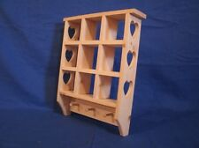 Rustic Country wooden pine shelf with heart & pegs, WALNUT STA wooden shadow box