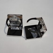 2X Polished Stainless Steel Folding Cup Drink Holder Adjustable Marine Boat RV