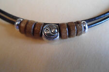 Brown Leather Tibetan Silver Yin Yang & Wooden Design Surf Necklace