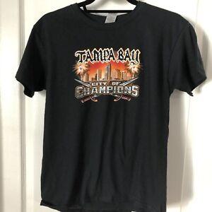 Unisex Kid Black Tampa Bay City Of Champions T Shirt Size M Gildan Heavy Cotton