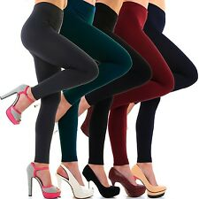 Damen Thermo Leggings Warm Weich Blickdicht Winter Leggins Innenfleece Farben