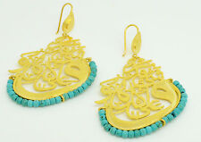Ottoman semi precious gem stone gold plated earrings islamic calligraphy