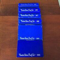1968-1972 plus 1983 US mint proof sets, 6 box blue set