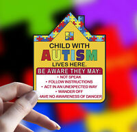 Autism Vinyl Decal Sticker For Your Home: Help Alert First Responders and Guest