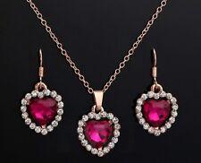 Gold & Pink Crystal Heart Jewellery Set - Heart of the Ocean Style - weddings