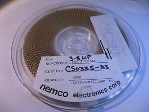 SMT Tantalum Capacitor 3.3uF 16V Nemco PCT3.3/16AK Reel Qty 2000