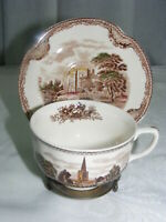 Vintage Johnson Brothers Old Britain Castles Brown Cup & Saucer Set