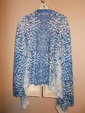 Cullen Womens Draped Blue and White Sweater Lightweight Long Sleeve
