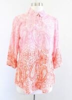Habitat Clothes to Live in Pink Orange Ombre Paisley Print Button Down Blouse XS