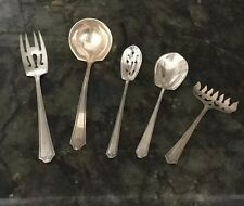 Antique J.S.Co Sterling SILVER DINNER SERVINGS 1937  WITH M MONOGRAM  5 Pieces