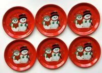 Vintage Mr & Mrs Snowman Metal Tin Coasters Merry Christmas Holiday Set of 6 EUC