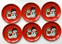 Vintage Mr & Mrs Snowman Coasters Metal Tin Merry Christmas Holiday Set of 6