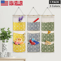 Wall Closet Hanging Storage Organizer Bag Toys Container 3 Pockets Pouch USA