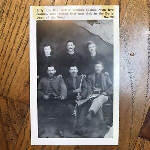 Vintage William Bonnie Billy The Kid And Gang picture Outlaw postcard gunfighter