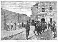 """SANTO-DOMINGO DE LA CALZADA """" EXECUTION DES OFFICIERS """" GRAVURE ENGRAVING 1883"""