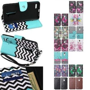 LG Fortune / Phoenix 3 / V1 / K4 2017 Hybrid Wallet Pouch Kickstand Case Cover