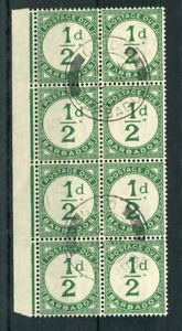 Barbados 1934-47 Postage Due halfpence green SG.D1 CW.PD1 used block