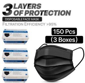 150 PCS(3 Box) Black Face Mask Mouth & Nose Protector Respirator Masks US Seller