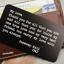 Personalised Gifts for Men Women Wallet Insert Card Keepsake Present Him Her W6