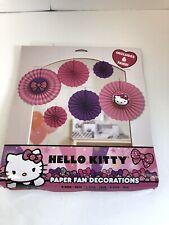 Hello Kitty Paper Fan Decorations New 6 Pcs