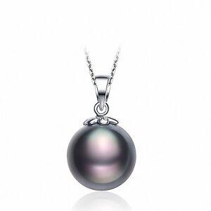 huge 12mm perfect round tahitian black pearl pendant