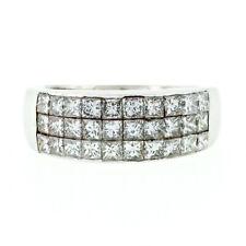Estate Platinum 2.0ctw 3 Row Invisible Set Princess Cut Diamond Dome Band Ring