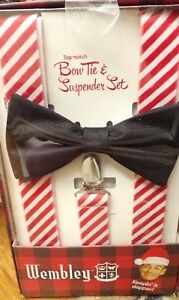 NEW WEMBLEY Mens Christmas Red & White Striped & Black Bow Tie & Suspender Set