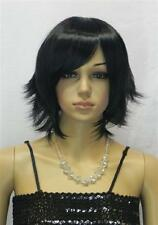 Hot Stylish Women Short Black Straight Oblique Bangs Cosplay Party Hair Full Wig