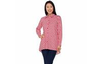 Joan Rivers Gingham Boyfriend Shirt with Hi-Low Hem Red Large A287724 QVC J