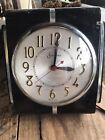 Vintage Session Electric Clock Art Deco Wall Black Wood Silver Trim