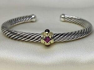$700 David Yurman Renaissance Bracelet W Pink Tourmaline, Rhodalite Garnet & 14k