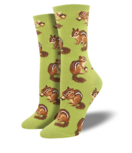 Chipmunk Cheeks Socks Green Crew Fall Autumn Acorns Sock Shoe Size 5-10.5