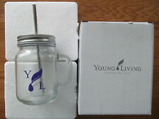 Brand New! Young Living Glass Mason Jar Mug with Stainless Steel Straw
