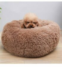 Donut Plush Pet Dog Cat Bed Fluffy Soft Warm Calming Bed Sleeping Kennel Bed NEW