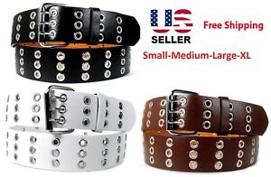 Men Women Unisex 3 Holes Row Grommet Bonded Leather Belt Removable Metal Buckle