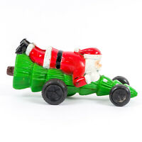 """Vintage Celluloid Santa Riding Tree Christmas Toy 7"""" Arm-Actuated Spring Powered"""
