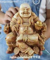Old Jade Gilt Seat Dragon Chair Happy Laugh Maitreya Buddha Yuanbao Coin Statue