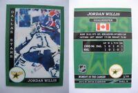 2015 SCA Jordan Willis rare Dallas Stars goalie never issued produced #d/10