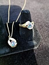 Mystic topaz and diamond ring and necklace set 10k yellow gold