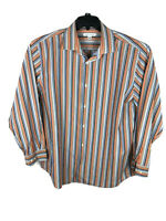 Banana Republic  Button Up Shirt Mens XL Orange Blue Stripe Long Sleeve A23