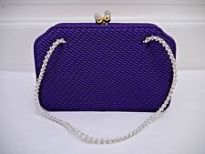 JUDITH LEIBER purple satin handbag evening bag crystal straps clasp CARRIED ONCE