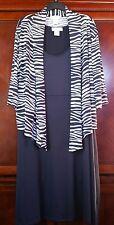 NEW Women's Lg. Zebra Print Tank Dress Set w/ open jacket black & white Paragon