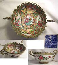 COUPE porcelaine de CHINE XIXème CANTON cerclage BRONZE anse Tête DIABLE oiseau
