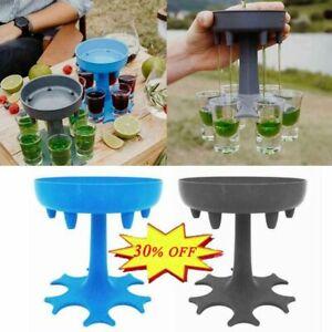 6 Shot Blue/Black Glass Dispenser and Holder/Liquor Dispenser Party Gifts Hot