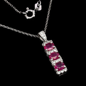 Natural Oval Cut Rich Red Pink Ruby 5x4 Mm White Cz 925 Sterling Necklace 18 Ins