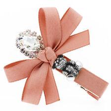 Luxury Blush Pink Girl Diamante Bow Knot Head Slide Hair Clip Accessories HA303