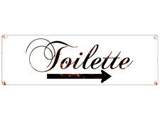 METALLSCHILD Shabby Blechschild Vintage TOILETTE PFEIL RECHTS Türschild WC Bad