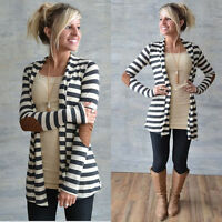 Fashion Women Strips Long Cardigan Coat Long Sleeve Casual Loose Sweater Jacket