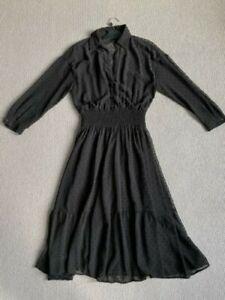 Zara V Neck Midi Dress. Black Polka Dot with Sheer detail. Excellent condition.