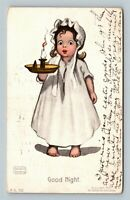 "Katharine Gassaway - Girl ""Goodnight"" Candle Light c1907 Postcard"